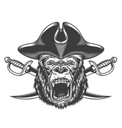 Angry gorilla head in pirate hat vector