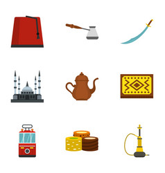 Ankara map icons set flat style vector