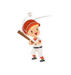 Baseball player boy hitting the ball kids vector