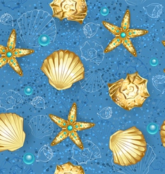 Blue seamless of gold seashells vector