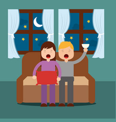 boy and girl yawning with sleep sitting on the vector image