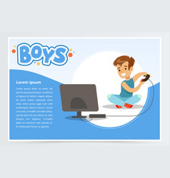 boy with remote control playing video game console vector image