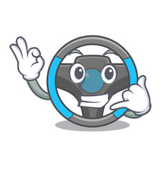 call me miniature steering wheel in cartoon shape vector image