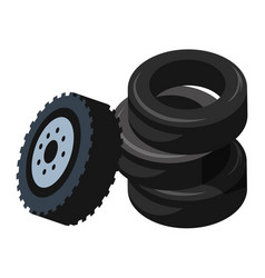 Car runner tyres in pile vehicle service and vector