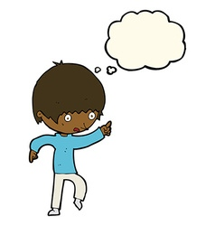 Cartoon worried boy pointing with thought bubble vector