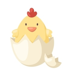 Cartoon yellow newborn chicken in the broken egg vector image