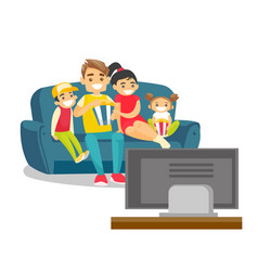 Caucasian white family watching television at home vector