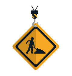 Caution diamond emblem with laborer and shovel vector