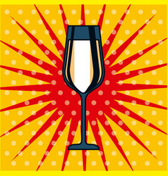 Champagne glass drink celebration pop art dots vector