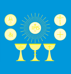 christian liturgical objects host consecrated vector image