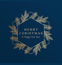 Christmas greetings golden glitter hexagon frame vector