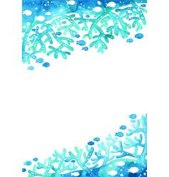 coral reef with school fish under sea vector image