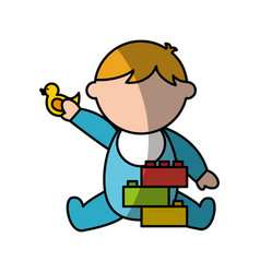 Cute boy baby with toys avatar character vector