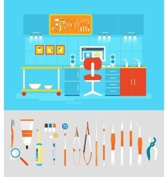 Dental office PC set instruments vector