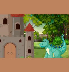 dragon at castle scene vector image