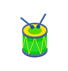 Drum and drumsticks icon in isometric 3d style vector image