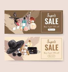 Fashion banner design with accessories cosmetics vector