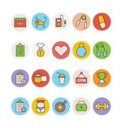 Fitness and Health Colored Icons 3 vector