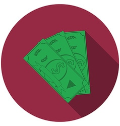 Flat design money icon with long shadow isolated vector image