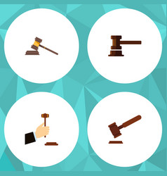 Flat icon hammer set of justice court government vector