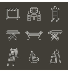 Flat white line home furniture icons set vector