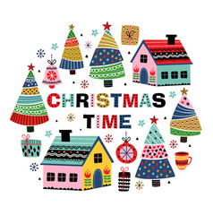 greeting card with decorative houses vector image