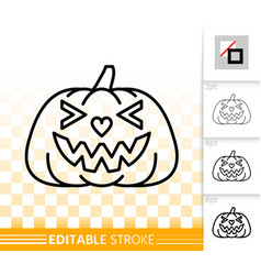 halloween pumpkin jack o lantern simple line icon vector image