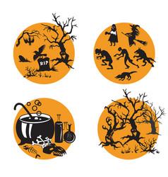 halloween set 8 vector image