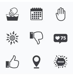 Hand icons Like and dislike thumb up symbols vector image