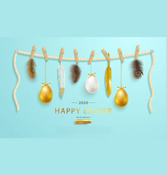 Happy easter greeting web bannereaster eggs and vector