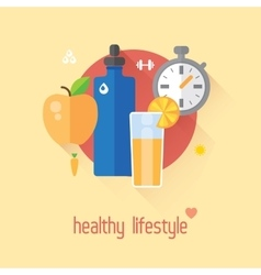 Healthy lifestyle flat Food water vector image