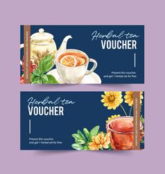 Herbal tea voucher design with tea pot roselle vector