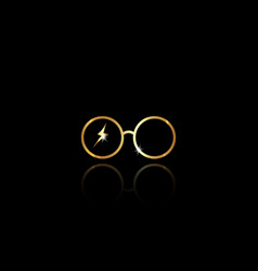 Icon a round glasses minimal potter style isolated vector