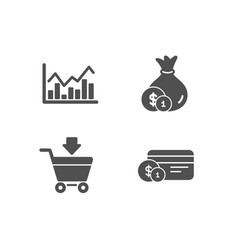 infochart cash and online market icons payment vector image