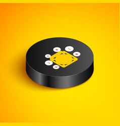 Isometric line asic miner icon isolated on yellow vector