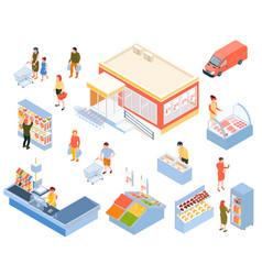 Isometric supermarket icons set vector