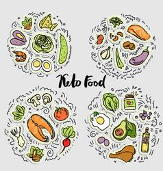 keto food ketogenic healthy food sketch vector image
