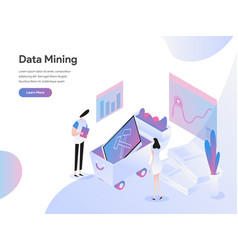 landing page template data mining isometric vector image