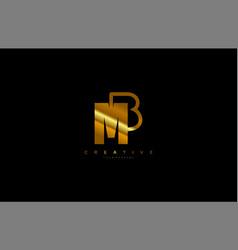 Letter mb bm m b monogram outline logo gold color vector