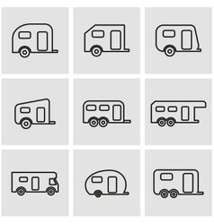 Line trailer icon set vector