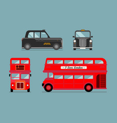 London city bus and cab set vector