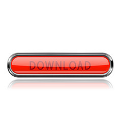 long red download button with bold chrome frame vector image