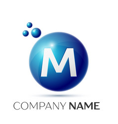 M letter splash logo blue dots and circle bubble vector