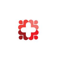 medical people care cross logo symbol icon vector image