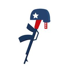Memorial day gun military and helmet american vector
