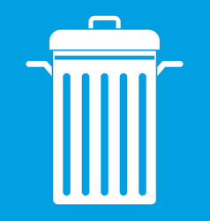 Metal trash can icon white vector