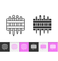 needle set simple black line icon vector image