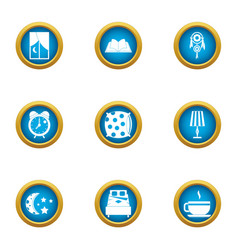 Nighttime icons set flat style vector