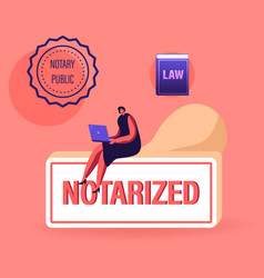 Notary worker character sitting on huge rubber vector