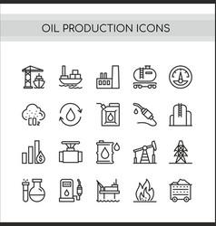 oil production set oilfield vector image